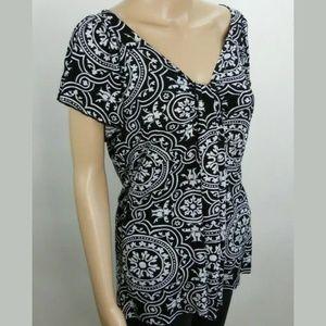 Carole Little Medium Blouse Black White Floral Top